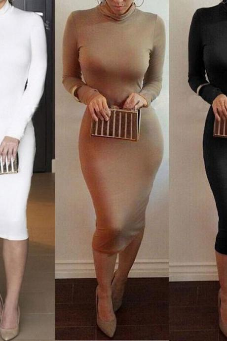Sophisticated Bodycon Long Sleeve Dress