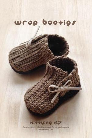 Crochet Pattern Wrap Baby Booties Preemie Boots Newborn Shoes Crochet Pattern (WB02-B-PAT)