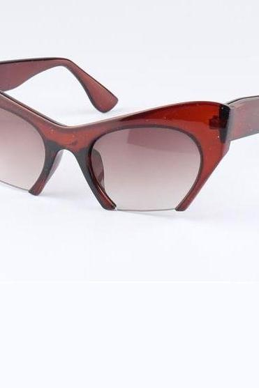 Cat eye cut end retro unisex brown summer sunglasses