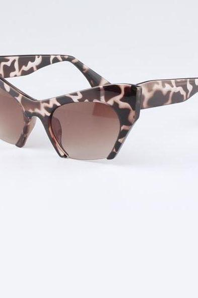 Cat eye cut end retro unisex leopard summer sunglasses