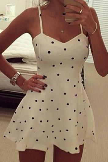 Free shipping Fashion Polka Dot Print Camisole Mini Skater Dress