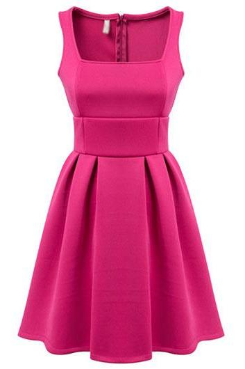 Neon Pink Short A-Line Dress Featuring Sleeveless Square Neck Bodice