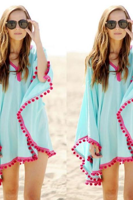 Sexy Women Bikini Cover Up Chiffon Long Sleeve Bikini Swimwear Beach Dress
