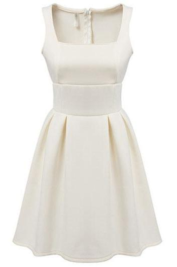 Fashion Sleeveless Square Collar Zipper Closure Dress - White