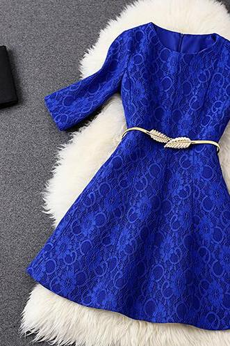 Fashion And Elegant Blue Lace Composite Cultivate One's Morality Dress