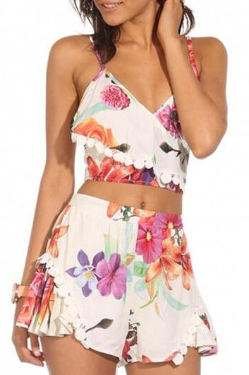 Fashion Strappy Crop Top and Shorts Two Piece Rompers