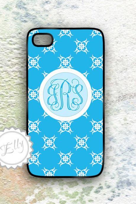 iphone case Sky blue floral monogram fashionable hard cover for Iphone4
