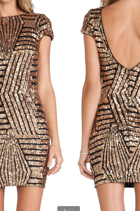 Sequins backless dress