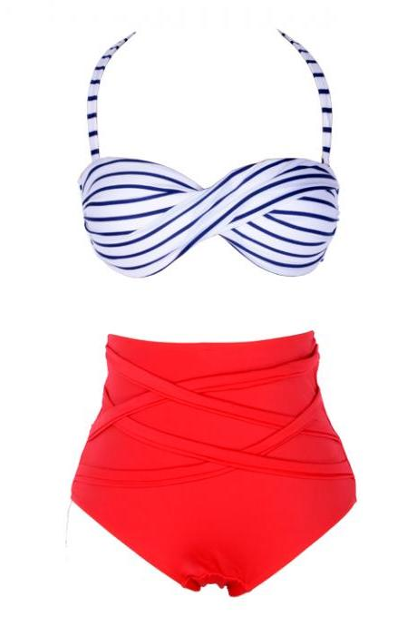 Stripes High Waist Bandeau Bikini