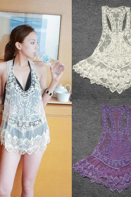 Lace Crochet Hollow Bikini Cover Dress