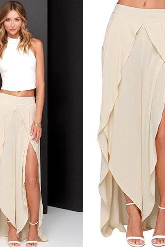 Fashion Solid Color High Waist Irregular Hem Chiffon Bust Skirt