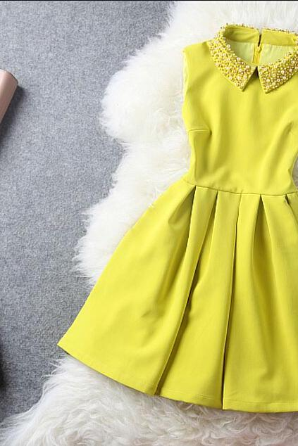 Accept Waist Sundress Fashion Manual Order Bead Cultivate One's Morality Dress--Yellow