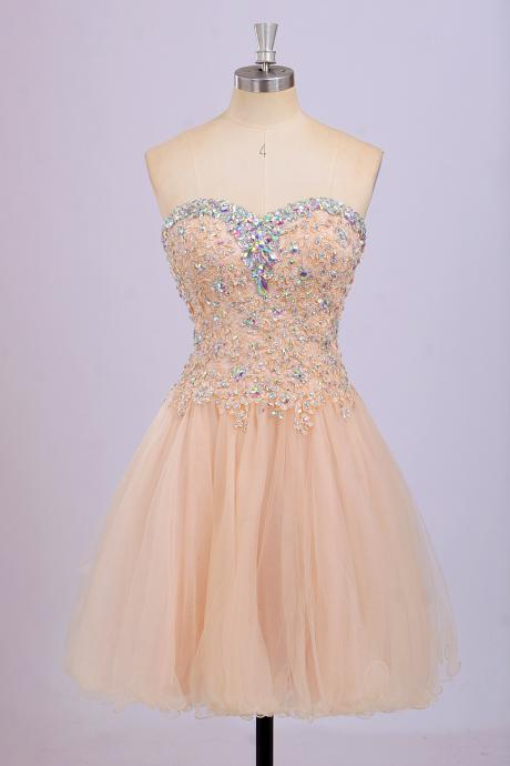 Short Beaded Strapless Prom Dress, Graduation Dress