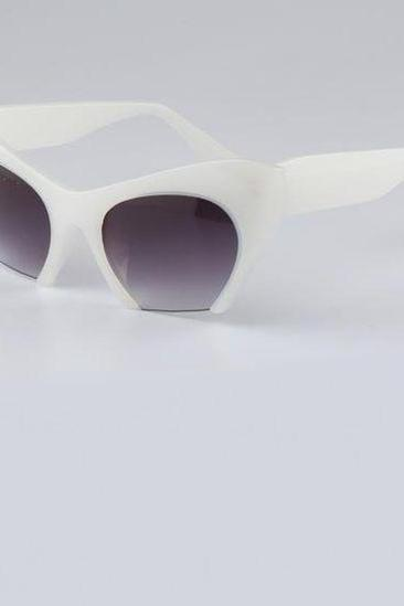 Cat Eye Cut End Retro Unisex White Summer Sunglasses