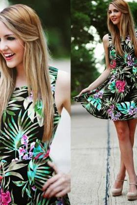 Women Summer Sleeveless Mini Fashion Dress Chiffon Printed High Waist Short Dress