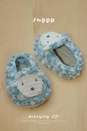 Sheep Baby Booties Crochet PATTERN, SYMBOL DIAGRAM (pdf) by kittying