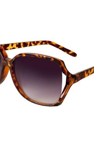 Oversized Plastic Sunglasses with Vented Lens - Tortoise