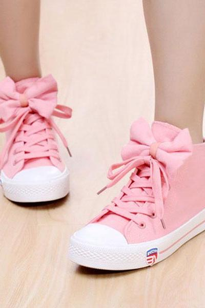 Casual Bow Tie Flat Canvas Shoes