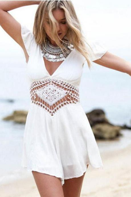 Short-sleeved White Lace Pants Jumpsuit