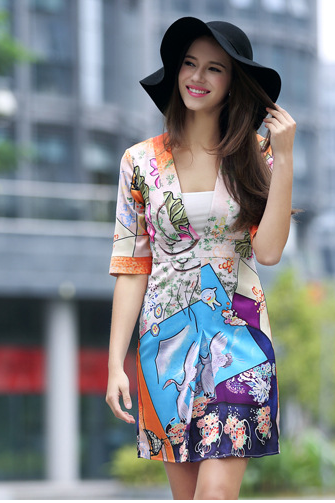 Deep V A word skirt printed silk dress sexy cultivate one's morality short sleeve YPH