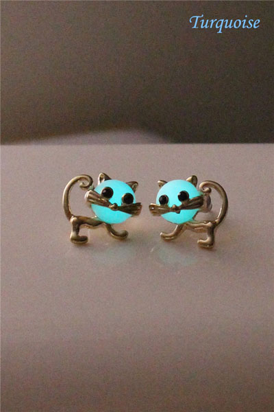 Free Shipping Little Cat Glowing Earrings, Turquoise Glowing Earrings, Golden Color Earring, Glow In The Dark, Birthday Gift