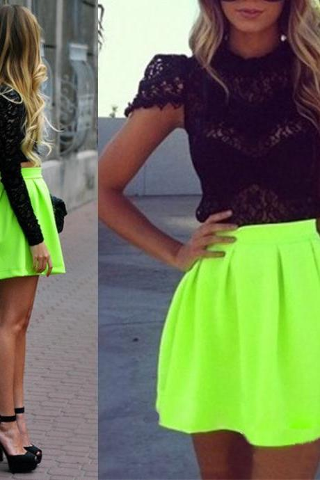 Womens Fluorescent Green Pleated High Waist Skater Tutu Skirt Short Skirt