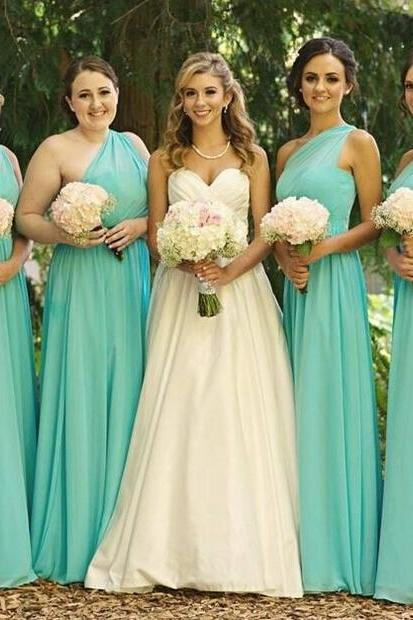Elegant chiffon one shoulder A line floor length long mint green bridesmaid dress