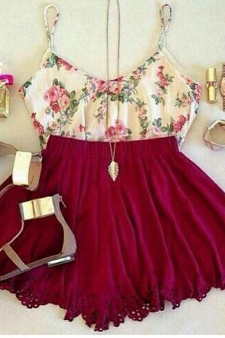 CUTE FLORAL RED LACE DRESS