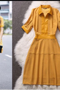 The Fur Collar Stitching Lapel In Peter Pan Collar Sleeve Dress YPH