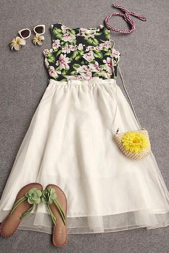 Fashion Floral Print Tops + High Waist Bust Skirt Two-Piece Set