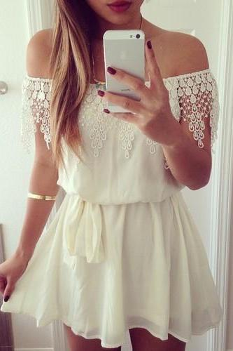 Free Shipping Sexy White Lace Word Shoulder Dress