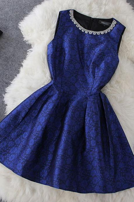 Fashion Blue Print Sleeveless Dress
