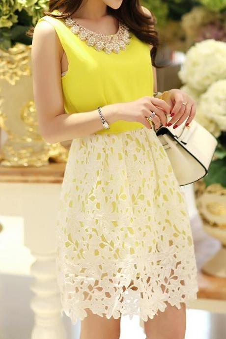 Stitching Lace Sleeveless Vest Dress