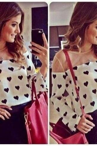 Long Sleeve Casual Top With Heart Print