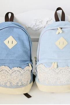 Pretty Denim Backpack Bag With Lace Girls' Bag