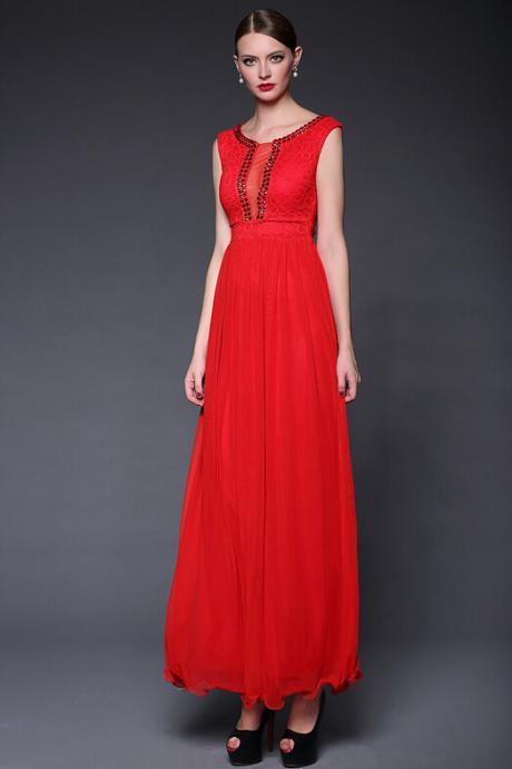 Red lace stitching temperament elegant wind long evening dress dress