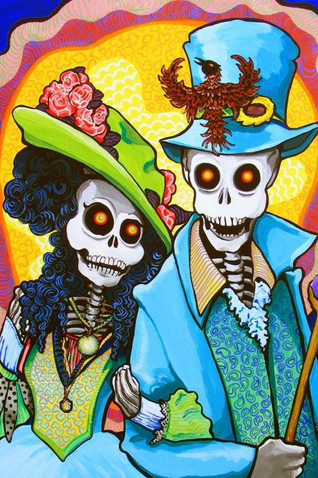 Charming Couple steampunk day of the dead Edwardian / Victorian art print - Psychedelic Colours, Renaissance Costume