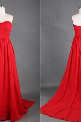 Sweetheart Red CHIFFON Ruffle Simple ELEGANT Long RED Prom Dress