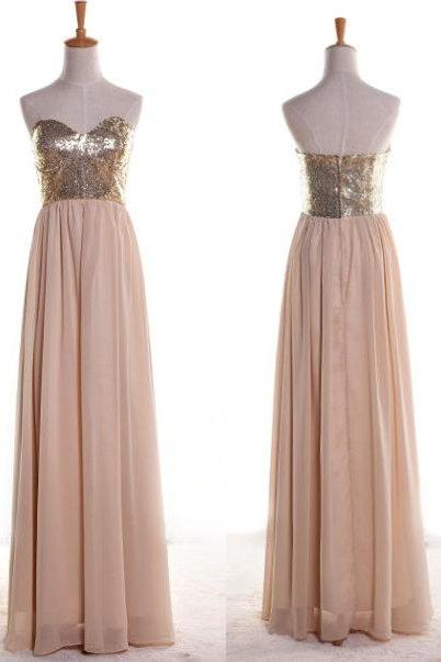 Sweetheart Sleeveless Top Sequined Lace Nude Pink Long Chiffon Dress Prom ,Long Evening Dress