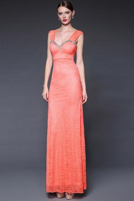 Orange bud silk v-neck dress long evening dress dress