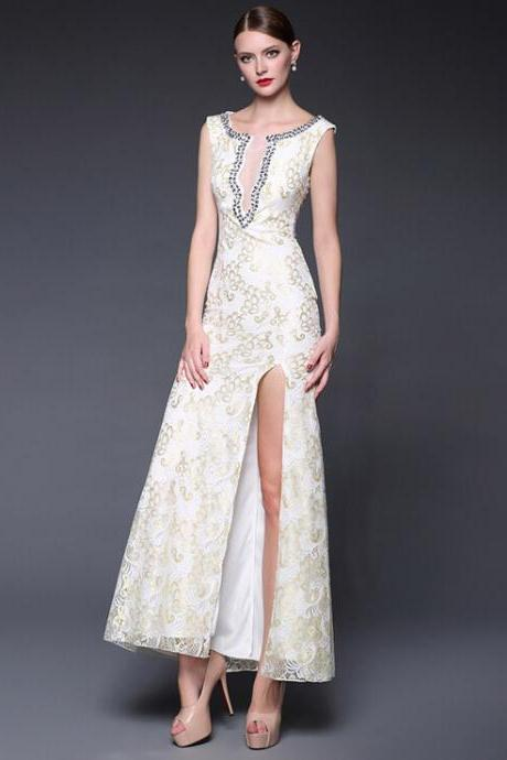 White lace embroidery sexy sleeveless long evening dress dress