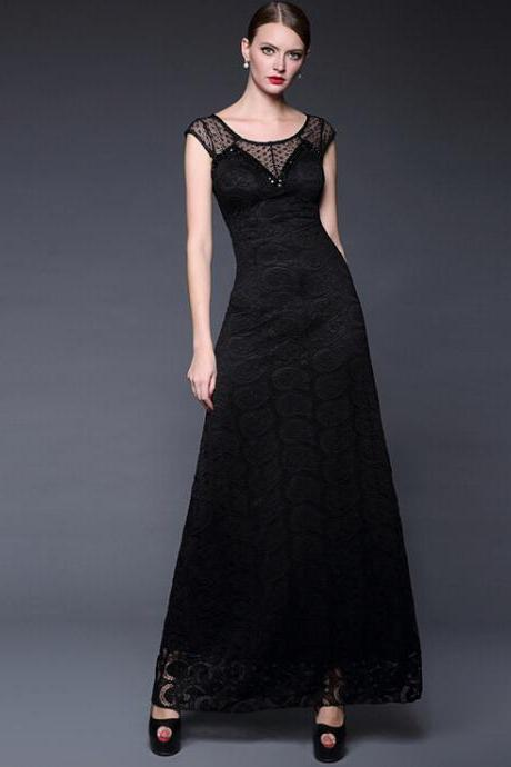 Black lace embroidery stitching manual nail bead elegant long evening dress dress