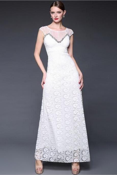 White lace embroidery stitching manual nail bead elegant long evening dress dress