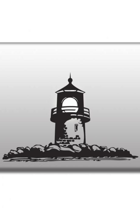 Lighthouse sticker for laptop, vinyl decals for car, MacBooks, doors, windows and walls, any color or size stickers
