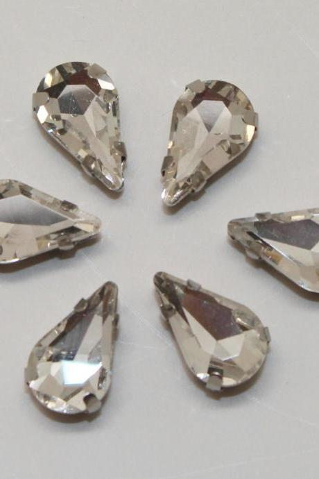 Teardrop 8x13mm millinery craft stitch sew on montee loose bead GLASS crystal chaton silver