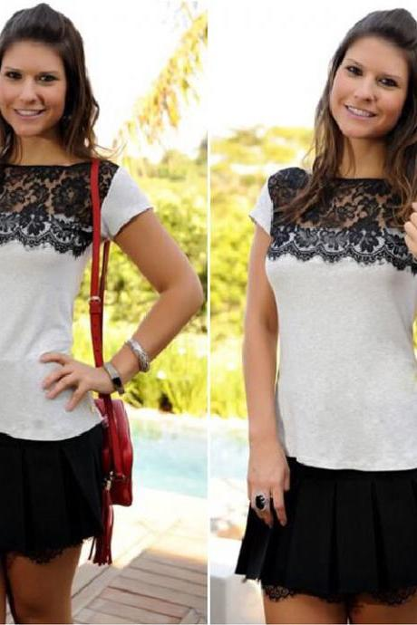 Lace Splicing Casual Tops Blouse