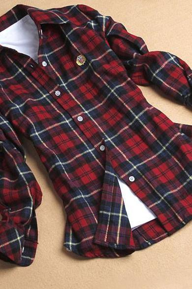 Plaids Lapel Flannel Shirt Blouse