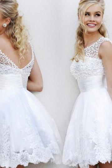 White lace bride bridesmaid wedding dress