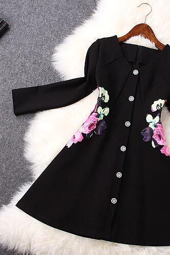 Printed retro nine points sleeve cultivate one's morality dress