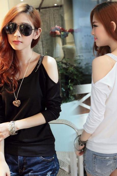 Lady Women Casual Off Shoulder Long Bat Sleeve T-Shirt Blouse Top